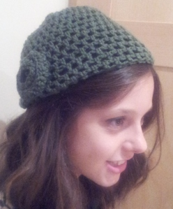 Very glamorous picture of fabby hat as made by The Stitch Sharer...
