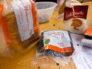 2 slices of soft brown bread, 125g ground almonds, 125g raisins