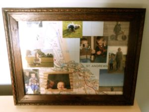 He made this card for me at Christmas, and it is a montage of a map of our Scotland trip, and some of the pictures. He found a frame for it, and wrapped it up to give again!!