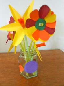My very own Make Do and Mend flowers! Courtesy of the Smalls  (with a little bit of help from Daddy...)