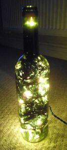 Just to prove it, here is the lamp we made from a bottle of wine I selflessly drank...