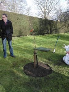 Planting a Mulberry Tree in memory of my mum, with family and friends at the beautiful Mottisfont Abbey in Hampshire