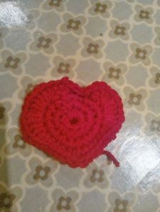 My slightly squiffy crocheted heart...
