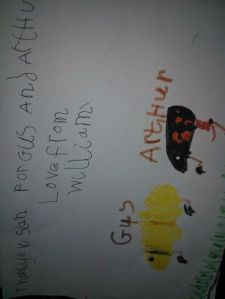 BigSmall drew a picture of the guinea pigs for the lady who very kindly allowed them to come and live with us :)