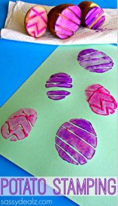 Potato stamped Easter Eggs! From Sassy Deals