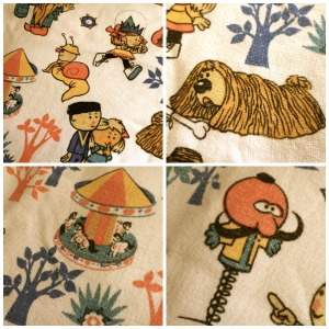 I LOVE this Magic roundabout fabric-almost too much, as I can't figure out what to make with it that would do it justice!