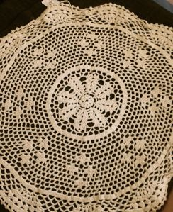 I also unearthed a couple of fabric doilies-anyone else got a mild doily obsession?
