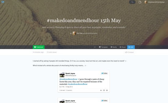 Click on the pic for the whole Storify! Some great Make Do and Mend tips, and inspiration for us all :)