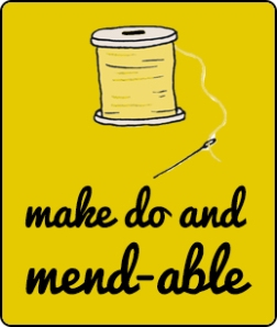 yellow box - black pacifico font with needle and thread