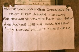 I found this pinned up in one of the sheds at The Lost Gardens of Helligan in Cornwall