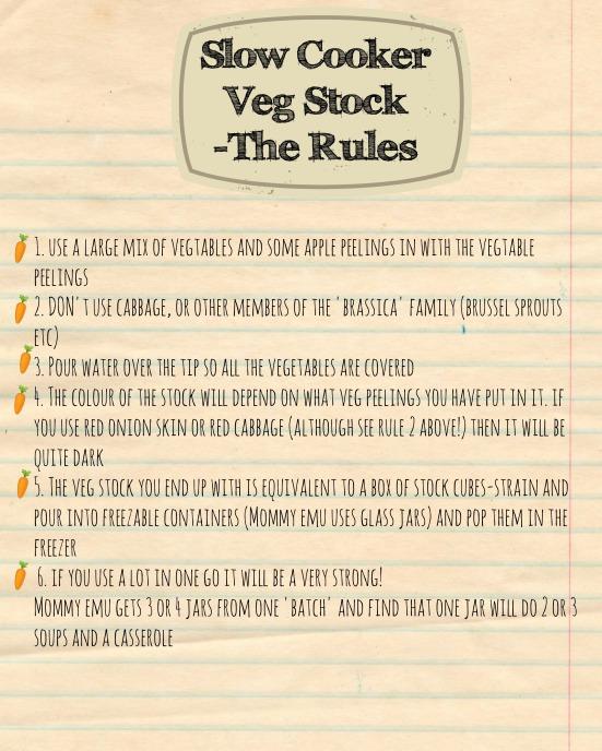 Slow Cooker Veg Stock Rules